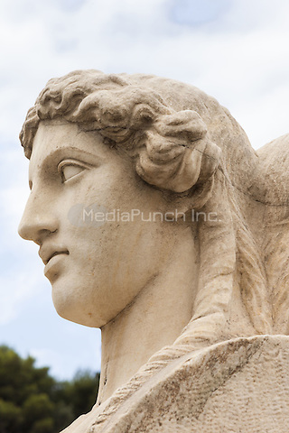 Stone head of one of the herms inside Panathenaic Stadium, original modern day Olympic Stadium, Athens, Greece <br /> CAP/MEL<br /> &copy;MEL/Capital Pictures /MediaPunch ***NORTH AND SOUTH AMERICA ONLY***