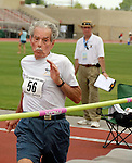 Warren Barger, 85, approaches the high jump bar. On this jump, he breaks the Senior Games record with a leap of 1 meter, 18 centimeters. The record was 1 meter, 9 centimeters.