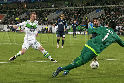 06.04.2016. Wolfsburg, Geramny. UEFA Champions League quarterfinal. VfL Wolfsburg versus Real Madrid. Maximilian Arnold 27 scores for 2-0 past Keylor Naves