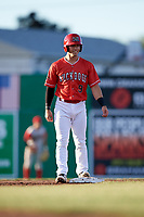 Batavia Muckdogs third baseman Denis Karas (9) on second base during a game against the Williamsport Crosscutters on June 21, 2018 at Dwyer Stadium in Batavia, New York.  Batavia defeated Williamsport 6-5.  (Mike Janes/Four Seam Images)