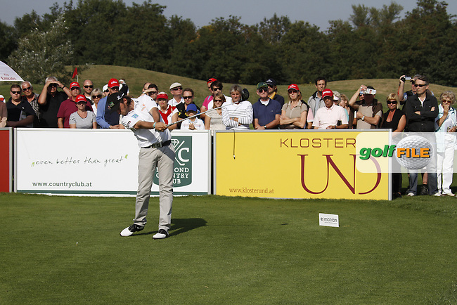 Martin Wiegele (AUT) tees off on the 1st tee to start his game during Saturday's Round 3 of the Austrian Open presented by Lyoness at the Diamond Country Club, Atzenbrugg, Austria, 24th September 2011 (Photo Eoin Clarke/www.golffile.ie)