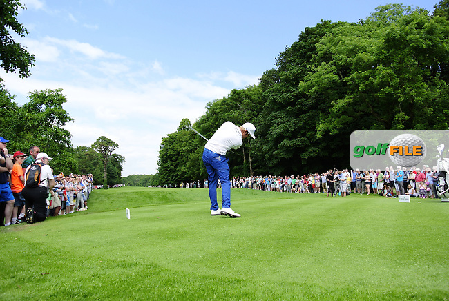Mikko Ilonen (FIN) tees off the 18th tee during Sunday's Final Round of the 2014 Irish Open held at Fota Island Resort, Cork, Ireland. 22nd June 2014.<br /> Picture: Eoin Clarke www.golffile.ie