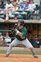 Augusta GreenJackets catcher Jared Deacon (40) at bat during a game against the Charleston Riverdogs at Joseph P.Riley Jr. Ballpark on April 15, 2015 in Charleston, South Carolina. Charleston defeated Augusta 8-0. (Robert Gurganus/Four Seam Images)