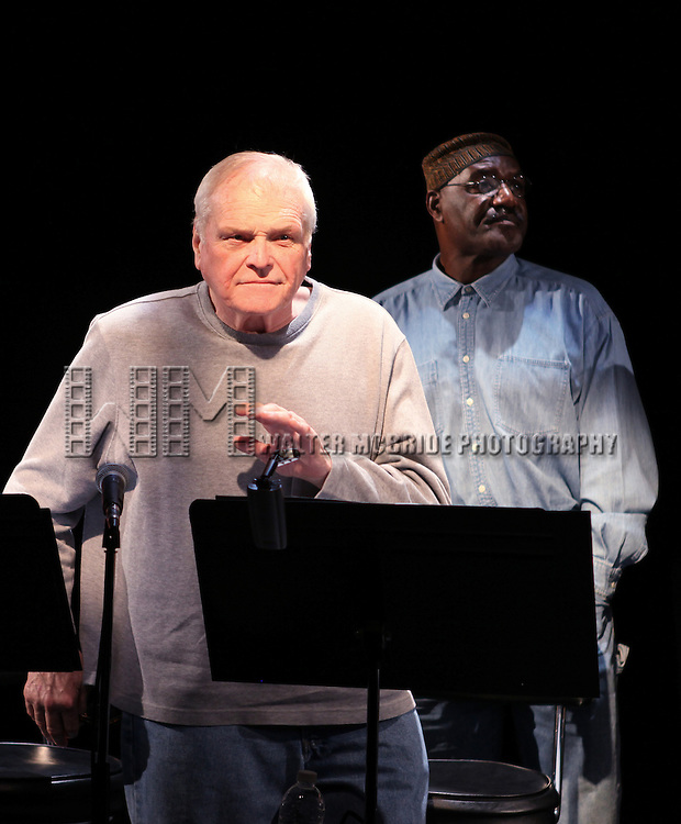 Brian Dennehy & Delroy Lindo during the Curtain Call for the 10th Anniversary Production of 'The Exonerated' at the Culture Project in New York City on 9/19/2012.