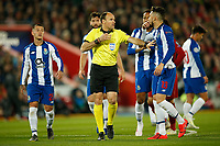 Referee Mateu Lahoz pushes the FC Porto players away while he awaits the decision of the VAR during the UEFA Champions League Quarter Final first leg match between Liverpool and Porto at Anfield on April 9th 2019 in Liverpool, England. (Photo by Daniel Chesterton/phcimages.com)<br /> Foto PHC/Insidefoto <br /> ITALY ONLY