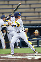 Michigan Wolverines outfielder Matt Ramsay (46) at bat against the Bowling Green Falcons on April 6, 2016 at Ray Fisher Stadium in Ann Arbor, Michigan. Michigan defeated Bowling Green 5-0. (Andrew Woolley/Four Seam Images)