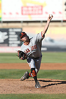 Andrew Leenhouts (39) of the San Jose Giants pitches during a game against the High Desert Mavericks at Mavericks Stadium on June 14, 2015 in Adelanto, California. High Desert defeated San Jose, 7-5. (Larry Goren/Four Seam Images)