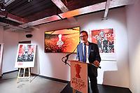Picture by Simon Wilkinson/SWpix.com - 09/11/2018 - RLWC 2021 Rugby League World Cup 2021 Paul Barrière Trophy - The Cockerel Reveal, Avenue HQ. Leeds<br /> - Professor Tony Collins