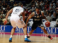 Real Madrid's Rafael Hettssheimeir and Brose's Massey during Euroliga match. February 28,2013.(ALTERPHOTOS/Alconada)