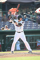 Taylor Ward (7) of the Inland Empire 66ers bats against the Visalia Rawhide at San Manuel Stadium on June 26, 2016 in San Bernardino, California. Inland Empire defeated Visalia, 5-1. (Larry Goren/Four Seam Images)