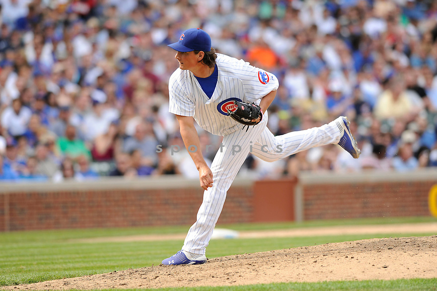 JEFF SAMARDZIJA, of the Chicago Cubs, in action during the Cubs game against the Milwaukee Brewers at Wrigley Field in Chicago, Illinois  on April 15, 2010...The Brewer win 8-6