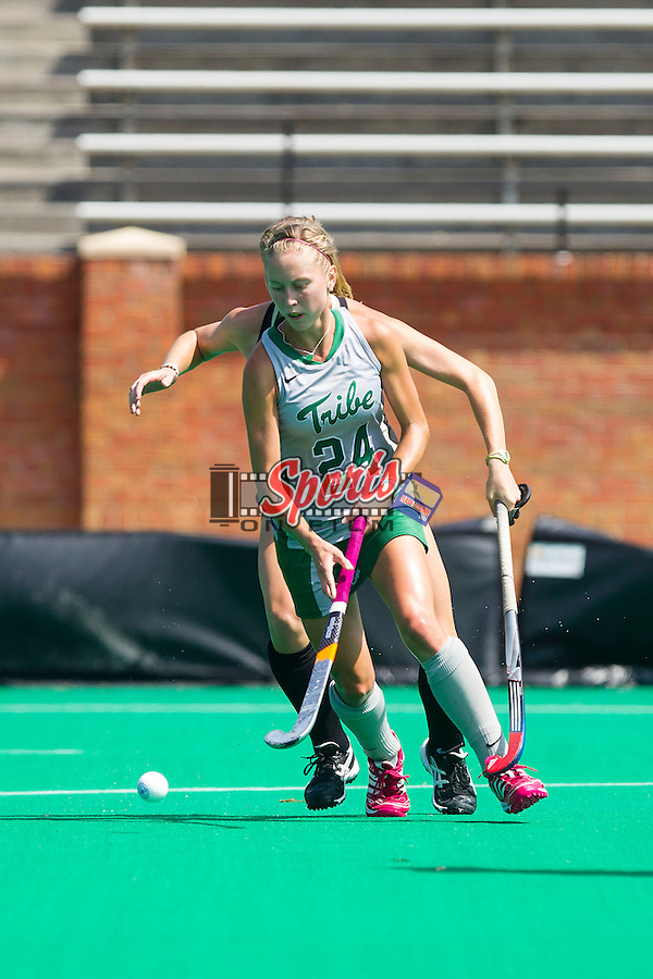 Mia Cherry (24) of the William & Mary Tribe during first half action against the Wake Forest Demon Deacons at Kentner Stadium on September 15, 2013 in Winston-Salem, North Carolina.  The Demon Deacons defeated the Tribe 4-0.  (Brian Westerholt/Sports On Film)