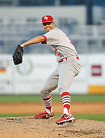 May 22, 2010 Pitcher Jared Bradford  of the Palm Beach Cardinals, Florida State League Class-A affiliate of the St.Louis Cardinals, delivers a pitch during a game at George M. Steinbrenner Field in Tampa, FL. Photo by: Mark LoMoglio/Four Seam Images