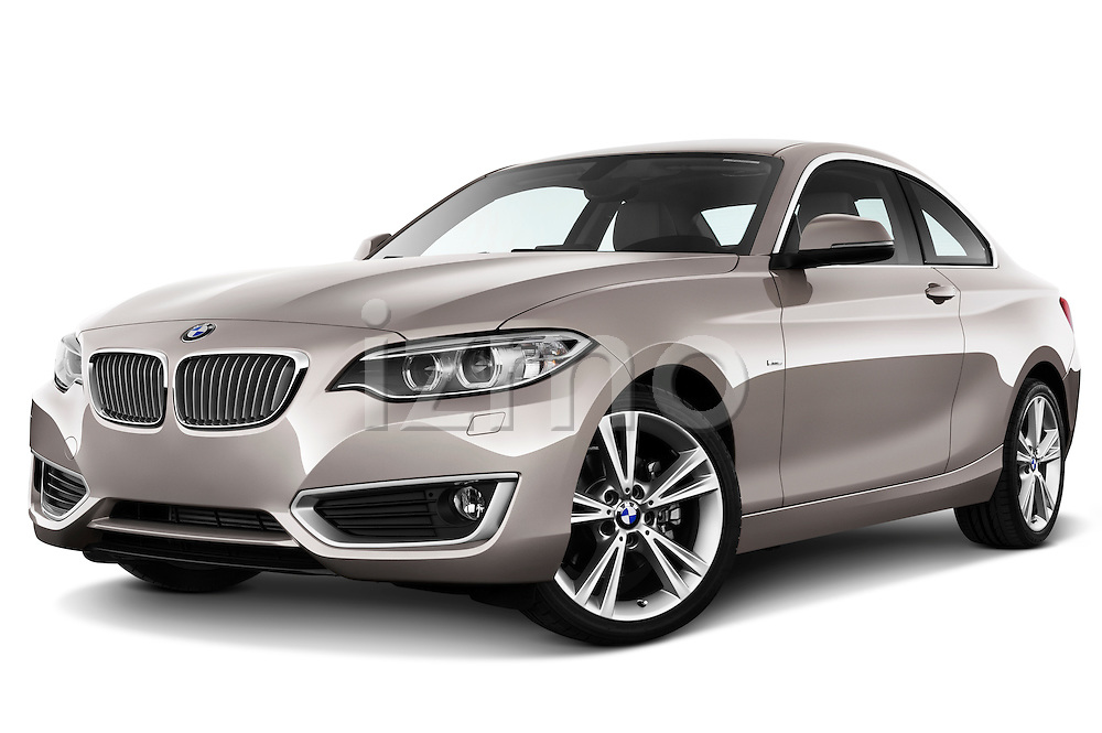 Stock Photo of a low aggressive front three quarter view of a 2014 BMW 2-Series 220d Modern Coupe