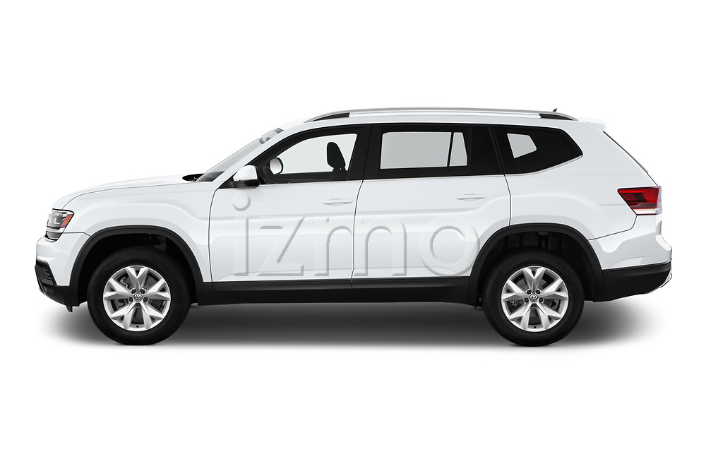 Car driver side profile view of a 2018 Volkswagen Atlas S 5 Door SUV