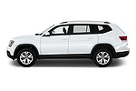 Car driver side profile view of a 2019 Volkswagen Atlas S 5 Door SUV
