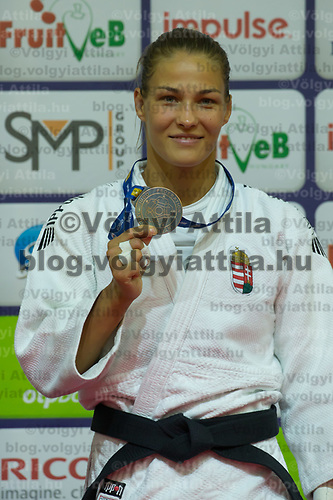Hedvig Karakas of Hungary celebrates her bronze medal during an awards ceremony after the Women -57 kg category at the Judo Grand Prix Budapest 2018 international judo tournament held in Budapest, Hungary on Aug. 10, 2018. ATTILA VOLGYI