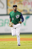 Charlotte Knights center fielder Jared Mitchell (9) jogs off the field between innings of the International League game against the Syracuse Chiefs at Knights Stadium on August 29, 2012 in Fort Mill, South Carolina.  (Brian Westerholt/Four Seam Images)