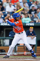 Florida Gators outfielder Buddy Reed (23) at bat against the Virginia Cavaliers in Game 13 of the NCAA College World Series on June 20, 2015 at TD Ameritrade Park in Omaha, Nebraska. The Cavaliers beat the Gators 5-4. (Andrew Woolley/Four Seam Images)