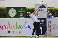 Jason Scrivener (AUS) tees off the 1st tee during Sunday's storm delayed Final Round 3 of the Andalucia Valderrama Masters 2018 hosted by the Sergio Foundation, held at Real Golf de Valderrama, Sotogrande, San Roque, Spain. 21st October 2018.<br /> Picture: Eoin Clarke | Golffile<br /> <br /> <br /> All photos usage must carry mandatory copyright credit (&copy; Golffile | Eoin Clarke)