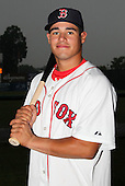 Lowell Spinners catcher Jayson Hernandez (12) poses for a photo in a Boston Red Sox uniform during a rain delay at Falcon Park in Auburn, New York August 9, 2010.  Hernandez was selected in the 2010 MLB Draft by the Red Sox in the 41st round (1252rd overall) out of Rutgers.  The game between the Lowell Spinners and Auburn Doubledays was cancelled due to rain.  Photo By Mike Janes/Four Seam Images