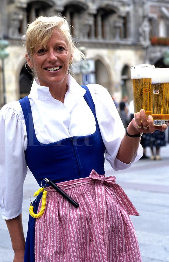 Beer waitress at Hofbrauhaus Bar near the Mariienplatz, Munich, Germany