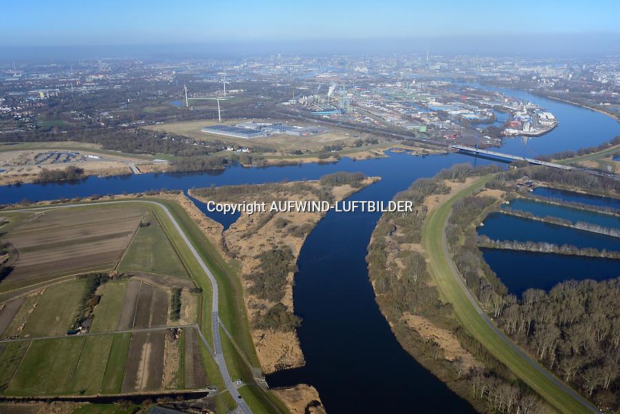 Spadenlaender Spitze: EUROPA, DEUTSCHLAND, HAMBURG, BERGEDORF, (EUROPE, GERMANY), 09.03.2014: Spadenlaender Spitze, Zufluss der Dove Elbe in den Hauptstrom