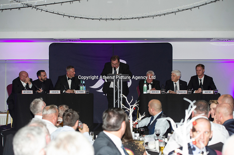 Pictured: Andy Robison, Leon Britton, Lee Trundle, Kevin Johns, David Giles, Wyndham Evans and Alan Tate of Swansea City during the Swansea City Question Of Sport at the Liberty Stadium in Swansea, Wales, UK. Thursday 05 December 2019