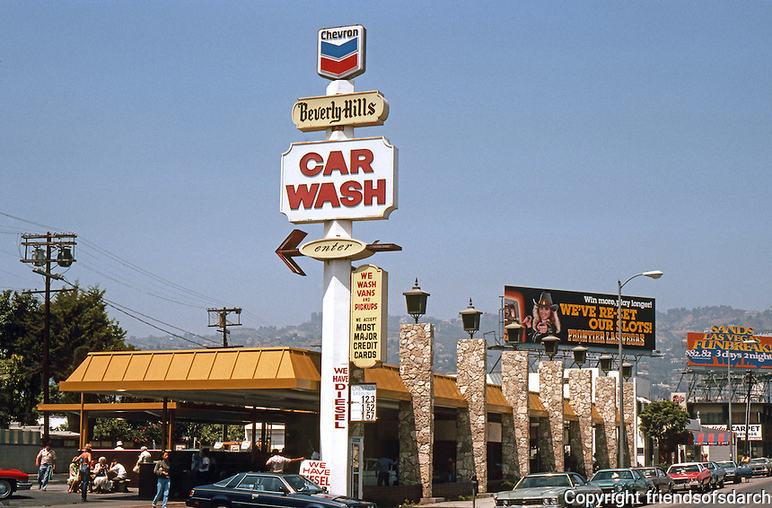 Googies: Beverly Hills Car Wash, La Cienega, Los Angeles. 1970's Nostalgia. Note Flagstone & coaching lamps.  Photo '82.