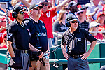 14 April 2018: MLB Umpires Gabe Morales (left) and Jerry Meals (right) listen to the results of an off-site video review of a cal during a game between the Washington Nationals and the Colorado Rockies at Nationals Park in Washington, DC. The Nationals rallied to defeat the Rockies 6-2 in the 3rd game of their 4-game series. Mandatory Credit: Ed Wolfstein Photo *** RAW (NEF) Image File Available ***