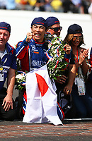May 28, 2017; Indianapolis, IN, USA; IndyCar Series driver Takuma Sato (26) celebrates after winning the 101st Running of the Indianapolis 500 at Indianapolis Motor Speedway. Mandatory Credit: Mark J. Rebilas-USA TODAY Sports