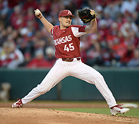 NWA Democrat-Gazette/ANDY SHUPE<br /> Arkansas reliever Kevin Kopps delivers to the plate Friday, May 10, 2019, during the fourth inning against LSU at Baum-Walker Stadium in Fayetteville. Visit nwadg.com/photos to see more photographs from the game.