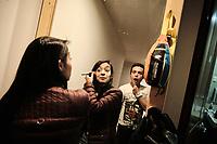 BOGOTA - COLOMBIA, 11-07-2020: Actores del grupo de teatro Buen Viaje Teatro de Cajicá, Colombia, se maquillan en una alcoba de la casa adaptada para la presentación virtual el día 109 de la cuarentena total en el territorio colombiano causada por la pandemia  del Coronavirus, COVID-19. Esta ha sido la manera de mantenerse activos y buscar algún ingreso de dinero desde la suspensión de toda actividad en Colombia. / Two actors of the theater group Buen Viaje Teatro in Cajicá, Colombia, make up in the bedroom of the house adapted for the virtual presentation on day 109 of the total quarantine in Colombian territory caused by the Coronavirus pandemic, COVID-19. This has been the way to stay active and seek some money income since the suspension of all activity in Colombia.. Photo: VizzorImage / Alejandro Avendaño / Cont