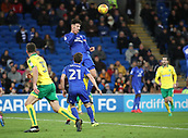 1st December 2017, Cardiff City Stadium, Cardiff, Wales; EFL Championship Football, Cardiff City versus Norwich City; Sean Morrison (C) of Cardiff City gets up to head the crossed ball