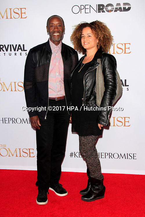 """LOS ANGELES - APR 12:  Don Cheadle, wife at the """"The Promise"""" Premiere at the TCL Chinese Theater IMAX on April 12, 2017 in Los Angeles, CA"""