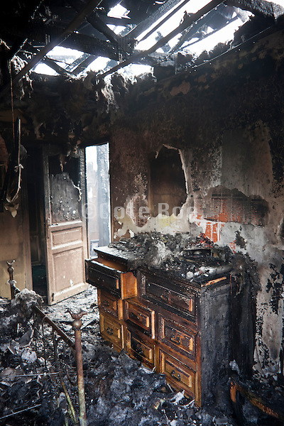 fire gutted room