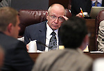 Nevada Sen. Joe Hardy, R-Boulder City, works in committee at the Legislative Building in Carson City, Nev., on Wednesday, March 18, 2015. <br /> Photo by Cathleen Allison