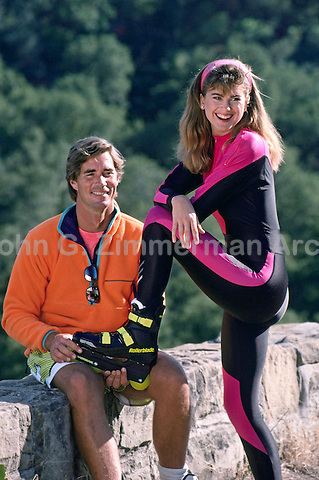 Kathy Ireland and husband Greg Olsen roller blading in Santa Barbara, California, July, 1989. Photo by John G. Zimmerman.