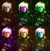 Andy Warol, l'artista più importante della Pop-Art.  Il progetto di Andy Warhol dedicato all'Ultima Cena di Leonardo da Vinci faceva il suo debutto a Milano. Per celebrare questo importante anniversario; il Museo del Novecento è lieto di annunciare la presentazione di uno dei lavori-chiave della serie: il dipinto monumentale Sixty Last Suppers. Milano, Andy Warhol espone nel palazzo ex Stelline. Milano, 22 gennnaio 1987. Photo by  Leonardo Cendamo