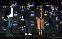 LAS VEGAS, NV - APRIL 24: (L-R) Director Baltasar Kormakur, actors Sam Claflin, Shailene Woodley and Chairman of STXfilms Adam Fogelson onstage during the STX Films presentation at CinemaCon 2018 at The Colosseum at Caesars Palace on April 24, 2018 in Las Vegas, Nevada. (Photo by Frank Micelotta/PictureGroup)