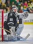 16 November 2013: Providence College Friar Goaltender Jon Gillies, a Sophomore from South Portland, Maine, in second period action against the University of Vermont Catamounts at Gutterson Fieldhouse in Burlington, Vermont. Gillies shut out the Catamounts to sweep the 2-game weekend Hockey East Series. Mandatory Credit: Ed Wolfstein Photo *** RAW (NEF) Image File Available ***