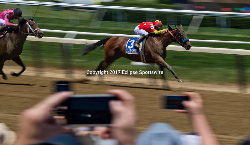 ELMONT, NY - JUNE 10: Abel Tasman #3, ridden by Mike Smith, takes the lead during the Acorn Stakes on Belmont Stakes Day at Belmont Park on June 10, 2017 in Elmont, New York (Photo by Scott Serio/Eclipse Sportswire/Getty Images)