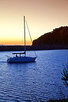Sailing In The Dana Harbor At Sunset