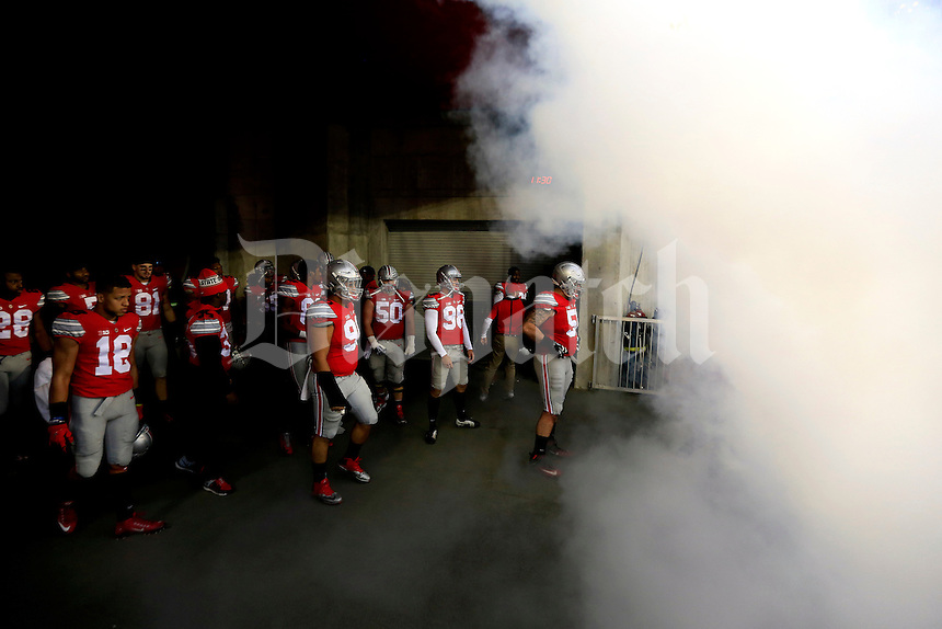 Ohio State Buckeyes seniors wait to be called onto the field for senior day before their game against Michigan State Spartans at Ohio Stadium on November 21, 2015.  (Dispatch photo by Kyle Robertson)