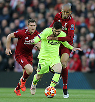 Barcelona's Lionel Messi battles with Liverpool's Fabinho<br /> <br /> Photographer Rich Linley/CameraSport<br /> <br /> UEFA Champions League Semi-Final 2nd Leg - Liverpool v Barcelona - Tuesday May 7th 2019 - Anfield - Liverpool<br />  <br /> World Copyright &copy; 2018 CameraSport. All rights reserved. 43 Linden Ave. Countesthorpe. Leicester. England. LE8 5PG - Tel: +44 (0) 116 277 4147 - admin@camerasport.com - www.camerasport.com