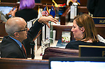 Nevada Sens. Mo Denis, D-Las Vegas, and Becky Harris R-Las Vegas, work on the Senate floor at the Legislative Building in Carson City, Nev., on Wednesday, April 15, 2015.<br /> Photo by Cathleen Allison
