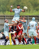 Oxford, England. Steve Mafi of Leicester Tigers wins the line out during the Aviva Premiership match between London Welsh  and Leicester Tigers at Kassam Stadium on September 2, 2012 in Oxford, England.