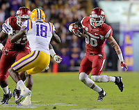 11/14/15<br /> Arkansas Democrat-Gazette/STEPHEN B. THORNTON<br /> Arkansas' Drew Morgan  racks up yardage in the third quarter during their game Saturday in Baton Rouge, La.
