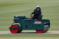 The pitch is rolled between innings during Surrey CCC vs Essex CCC, Specsavers County Championship Division 1 Cricket at the Kia Oval on 12th April 2019
