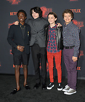 Caleb McLaughlin, Finn Wolfhard, Noah Schnapp &amp; Gaten Matarazzo at the premiere for Netflix's &quot;Stranger Things 2&quot; at the Westwood Village Theatre. Los Angeles, USA 26 October  2017<br /> Picture: Paul Smith/Featureflash/SilverHub 0208 004 5359 sales@silverhubmedia.com
